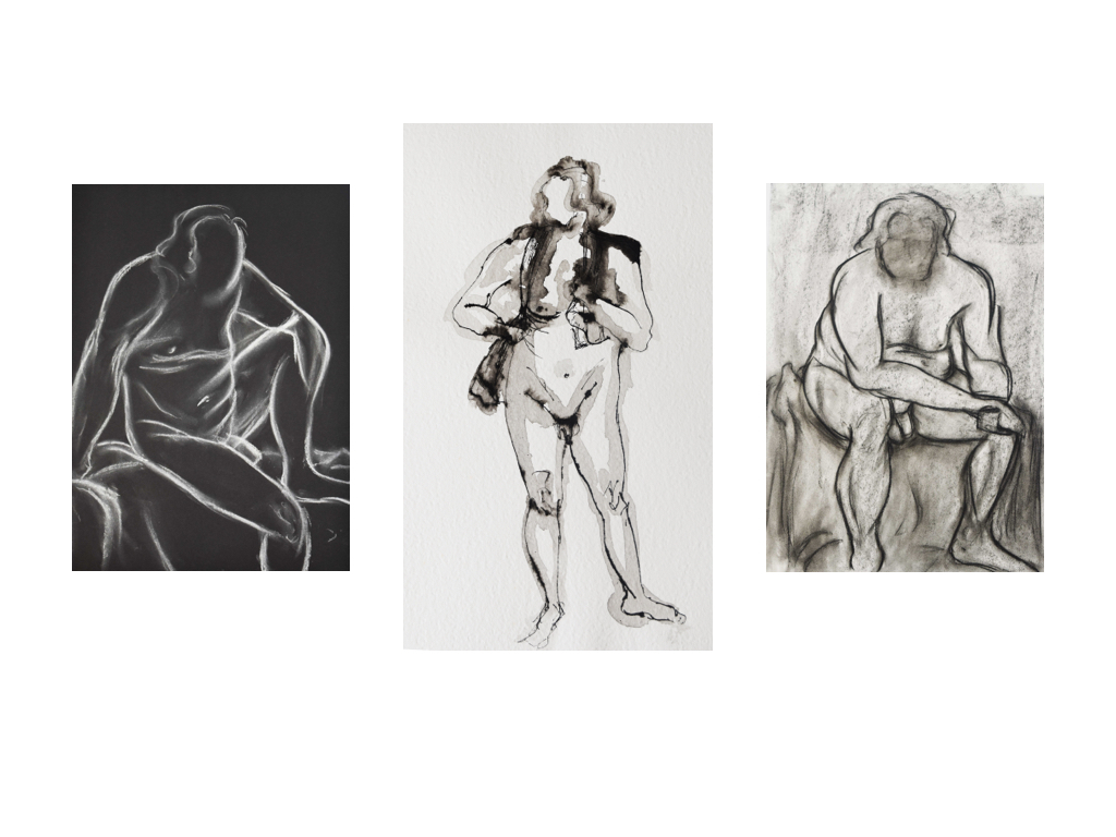 3 sketches of the Life Drawing Model